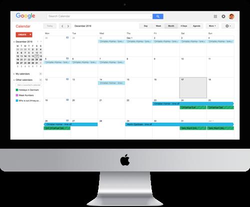 Google calendar framed